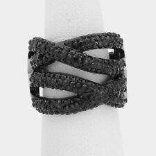 STATEMENT Big Black Jet Crystal Twist STRETCH Cocktail Ring By Rocks Boutique