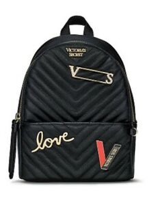 Victoria's Secret Embellished V-Quilt Small City Backpack Black New With Tag