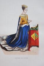 GRAVURE-MARGUERITE REINE D'ECOSSE-COSTUMES MOYEN AGE 1847-ANTIQUE  PRINT