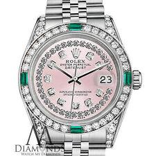 Ladies Rolex Datejust 31mm Stainless Steel Pink String Emerald Diamond Watch