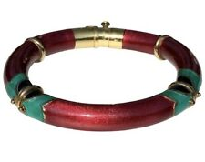 "La Nouvelle Bague 18K Gold Red Green Enamel Bangle Bracelet 7"" HEAVY 37g"