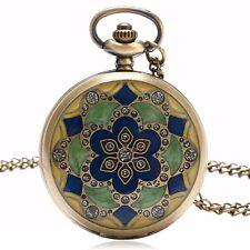 Womens Quartz Pocket Watch Bronze Steampunk Vintage Flowers Necklace Pendant