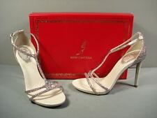Rene Caovilla Strappy Jeweled Silver T-Strap Evening Sandal Heels 36.5/6.5 NEW