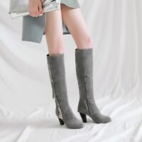 Retro Womens Knee High Boots Round Toe Block High Heel Shoes Fashion Booties