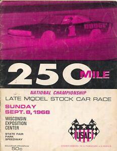 State Fair Park Spdwy USAC 250 Mile Stock Car Race Program 9/8/1968-Foyt-VG