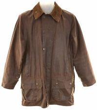 BARBOUR Mens Waxed Cotton Jacket Size 38 Medium Brown Cotton Beaufort CG24