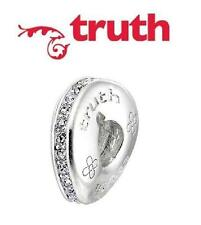 Genuine TRUTH PK 925 sterling silver sparkly crystal wavy spacer charm bead