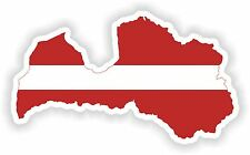 1x Adesivo Lettonia SILHOUETTE Paraurti Decalcomania mappa bandiera