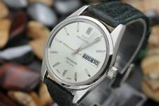 Vintage TECHNOS DE LUXE Automatic Day Date Stainless Steel Men's Dress Watch
