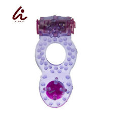 Silicone Vibrating Waterproof Cock Ring with Clitoral Stimulator Purple