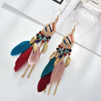 Women Fashion Boho Earrings Vintage Long Tassel Fringe Boho Dangle Earrings