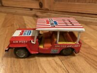 Vintage United Airlines Tin Friction Toy Airport Jeep 1960's Japanese  Very Rare