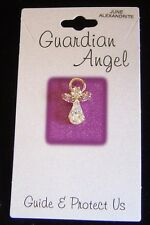 June birthstone Guardian Angel pin, light amethyst crystals