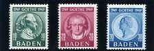 Bade 1949-Z.O.F.-Y & T n°47 à 49**-Goethe-Superbe