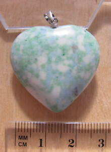 Synthetic turquoise heart pendant green blue white 30mm