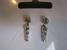 Diamante drop earrings pierced ears