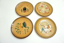 LOT OF 4 VINTAGE PENNSBURY POTTERY SIGNED PLATES ROOSTER, AMISH, BUGGY, PA DUTCH