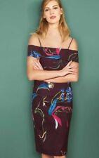 Bnwt🌹Next🌹Size 16 Tall Berry Floral Bardot Bodycon Dress Evening Cocktail New
