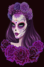 STUNNING Mexican Sugar Skull Girl Canvas Picture #23 Wall Hanging Pop Art A1
