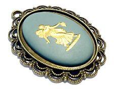 Wedgwood: Authentic Wedgwood Jasperware Cameo On Large Bronze Pendant