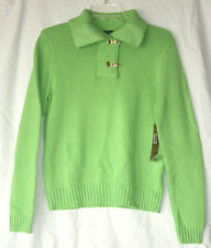 Ralph Lauren Jeans Co. Green Apple Buckle Neck Knit Sweater Top Sz MED NWT