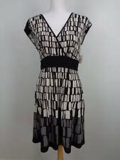 Max and Cleo $108 Black & White Sleeveless Wrap Dress Womens Sz Medium NWT