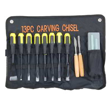 13 Piece Professional Wood Carving Set Chisels Hand Tools Woodworking W/Pouch