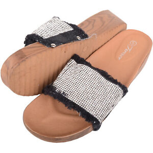 Womens Sequin Denim Look Holiday / Summer Sandals / Mules - Black UK 4