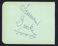 Truman Bradley (d. 1974) signed autograph 4x5 Page Host: Science Fiction Theatre