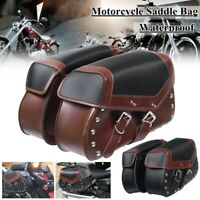 2x Universal Motorcycle Waterproof Saddle Bag Bike Side Storage Fork Tool