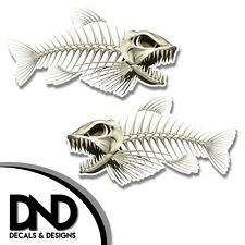 "Bone Fish - Skeleton Decal Fishing Tackle Box Bumper Sticker ""5in SET"" F-0080 D&"