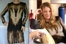 $885 MCQ Alexander McQueen Phantom Print Gossip Girl Stretch Dress US 2 / IT 38