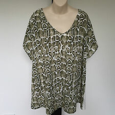 'AUTOGRAPH' BNWT SIZE '20' GREEN & CREAM CAP SLEEVE TOP