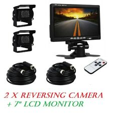 "2 x Reversing Camera + 7"" LCD Monitor Car Rear View Kit For Van Truck 12V/24V"