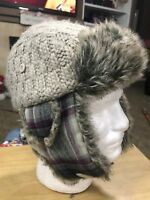 REI Insulated Winter Trapper Hat Ear Flap Wool Blend Faux Fur Plaid S / M