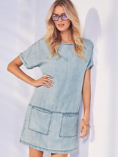 Kaleidoscope Sz 12 Blue Washed Look Denim Tunic DRESS Spring Summer Holiday £55