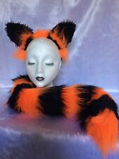 Cheshire Cat Halloween Fancy Dress Ears And Tail Set Bright Orange & Black New