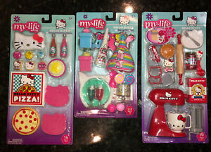 My Life As HELLO KITTY Doll Playset Room Party On The Go Lot 3 Play Sets NEW