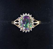 9ct Gold Mystic Topaz & Diamond Ring, Size O, US 7