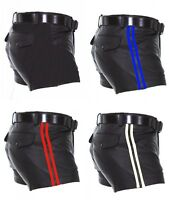 Men's Sheep Leather Shorts Soft Black with Strips Half Pant Gay Club Wear Shorts