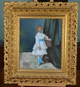 Large Antique Early 19th Century Folk Art Pastel Portrait Of Young Girl Unsigned