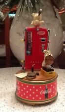 Vintage Coke Cola Music Box With Coke Machine And Small Baby Polar Bears