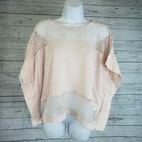 Lucky Brand Womens Poncho Style Top Sz Medium Pink Linen Blend Lace