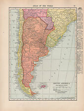 1909 MAP ~ SOUTHERN SOUTH AMERICA ARGENTINA CHILE FALKLAND WITH CITIES-TOWNS