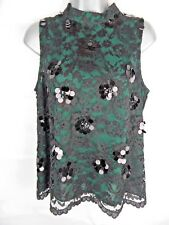 COAST Sally Lou Lace Top, Size 14, Green, Black Lace, Sequin, Wedding, Races
