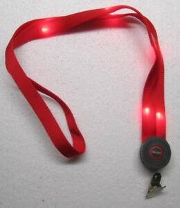 Blinking LED Light Up RED LANYARD KEY CHAIN Ring Keychain ID Holder NEW