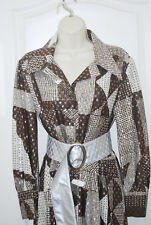 Vintage 70s Gypsy silver brown HEARTs long sleeve SHIRT Maxi DRESS gown 6 NEW