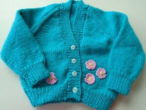 """New Hand Knitted Aqua Cardigan 18/20"""" chest (aprox 6/12 months)"""