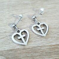 Silver Heart Earrings Studs Tibetan Hearts Cross Goth Gothic Punk Gift