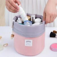 3 Color Barrel Cosmetic Makeup Bag Toiletry Drawstring Pouch Organizer Storage